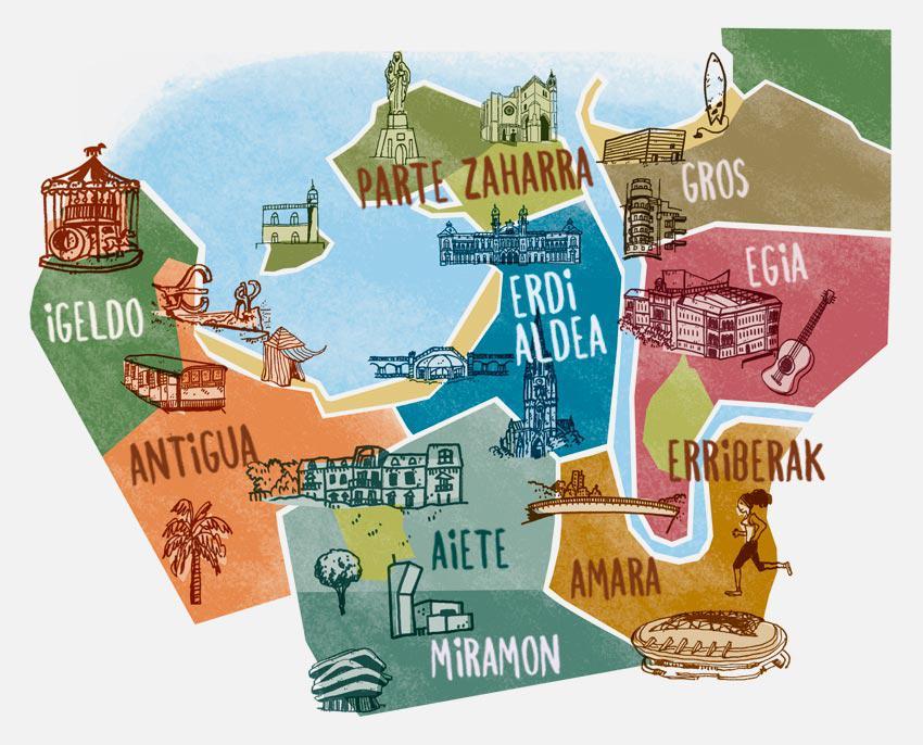 'Art in Donostia' liburuxkarako sortu duten mapa. (Argazkia: Donostia Turismoa)