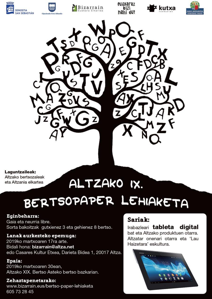Bertso-paper-lehiaketa-2019