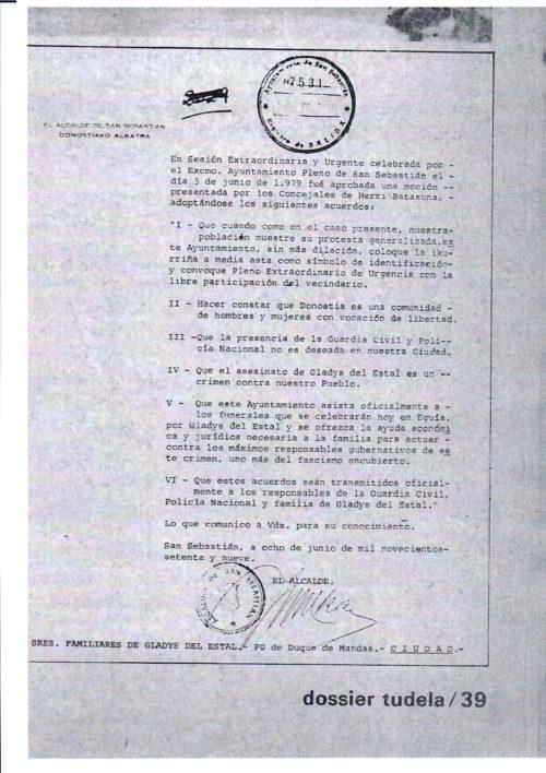 1979ko ekainaren 5eko Donostiako Udaleko udalbatzan onartutako mozioa. (Argazkia: Gladys Gogoan)