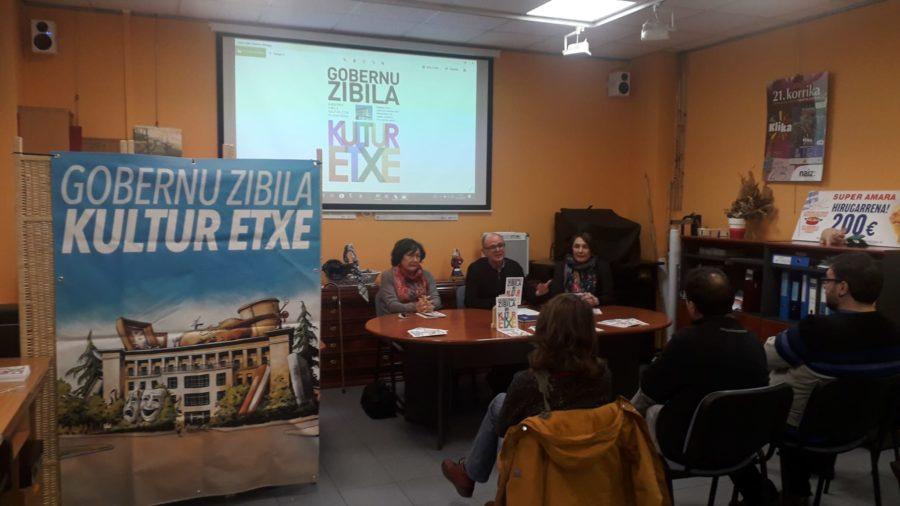 'Gobernu Zibila Kultura Etxea' liburuaren aurkezpena, Amara Berriko auzo elkartearen lokalean. (Argazkia: Gobernu Zibila kultur etxe plataforma)