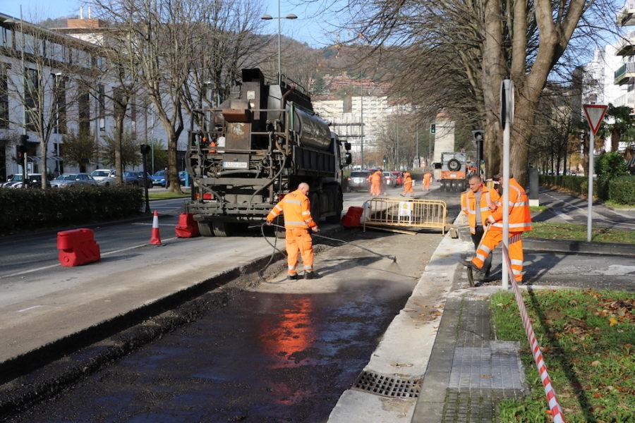 Tolosa hiribideko asfaltatze lanak. (Argazkia: Donostiako Udala)