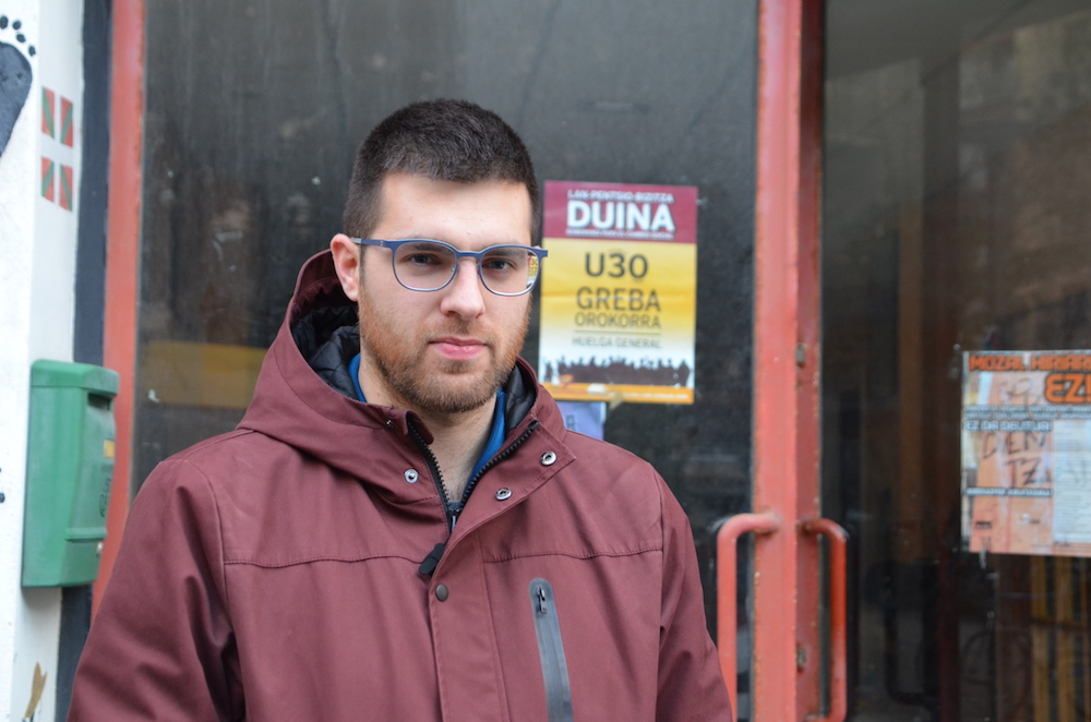 Aitor Aldai Moares, gazte mugimenduko eta sindikalgintzako kidea. (Argazkia: Iñaki Agirre)