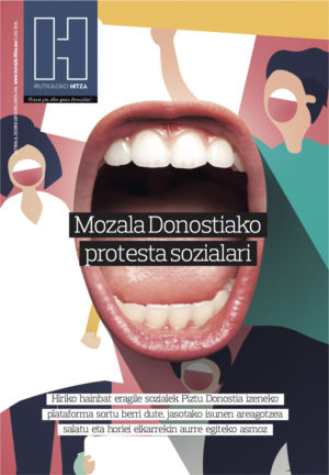 2020-01-24. Mozala Donostiako protesta sozialari
