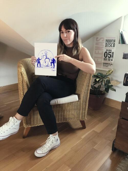 Paula Estevez ilustratzaileak Irutxuloko Hitzaren 15. urtemugako ospakizunean parte hartu du. (Argazkia: Paula Estevez)