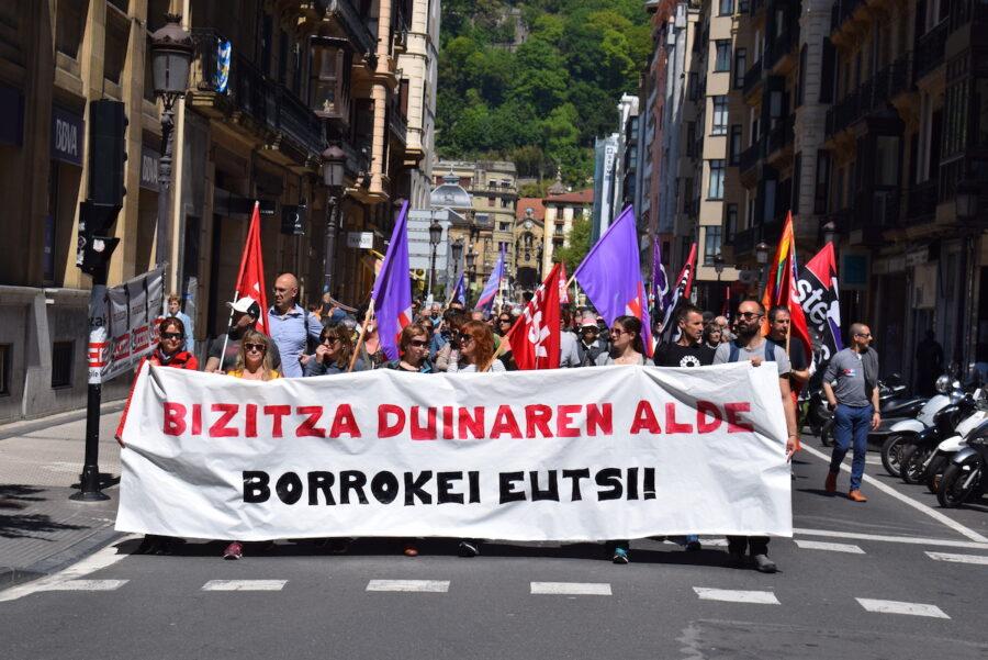 2019ko Langileen Egunean ESK eta STEILAS sindikatuek egindako manifestazioa. (Argazkia: Inaxio Esnaola)